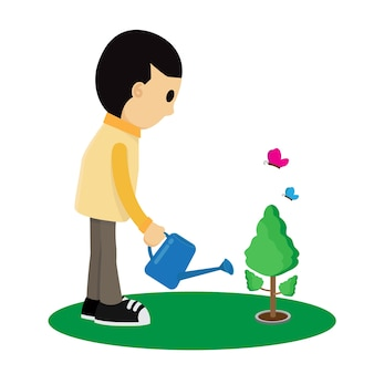 Kind bewässert eine baumkarikatur vektorillustration