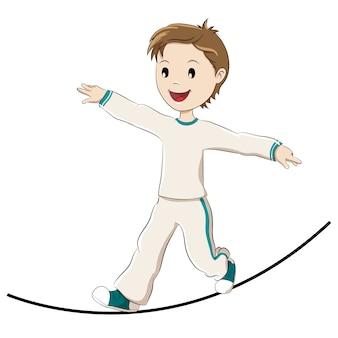Kind, das auf einem seil balanciert