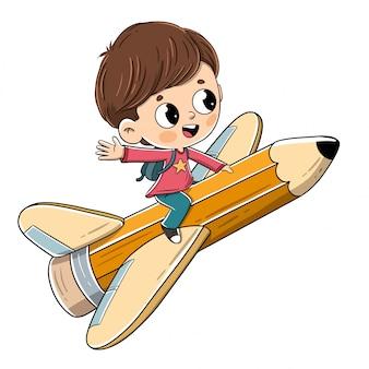 Kind, das auf einen bleistift mit flügeln fliegt