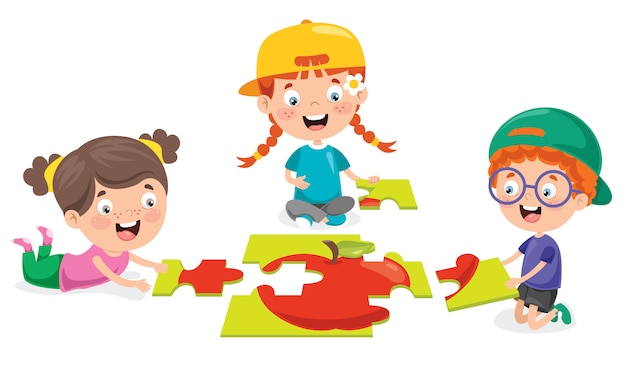 Kind, das buntes puzzle spielt
