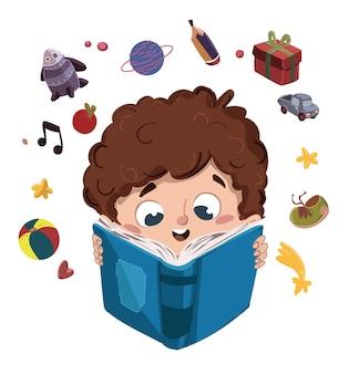 Kind, das ein buch sich vorzustellen sachen liest
