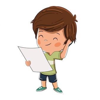 Kind, das eine ahnungslose karte oder ein flugzeug betrachtet