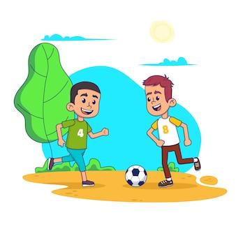 Kind, das fußball im spielplatz spielt. happy smiley kinder cartoon illustration