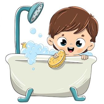 Kind, das in der badewanne mit schaum badet
