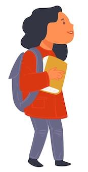 Kind, das in der schule oder im college studiert, isolierte weibliche figur, die ein buch hält und einen schulranzen trägt. profil des schülers, des mädchens, das mit notizbuch und lehrbuch steht. wissensvektor im flachen stil erhalten