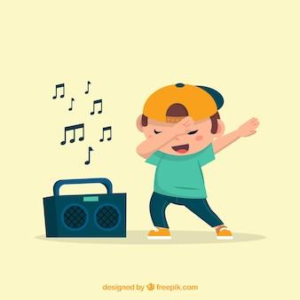 Kind, das mit radio tupfend tut