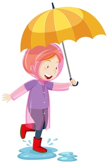 Kind, das regenmantel trägt und regenschirm hält und in pfützenkarikaturart lokalisiert auf weißem hintergrund springt