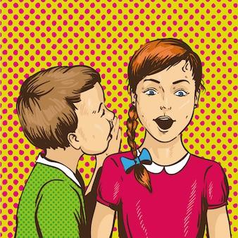 Kind, das seinem freund klatsch oder geheimnis zuflüstert. kinder reden miteinander