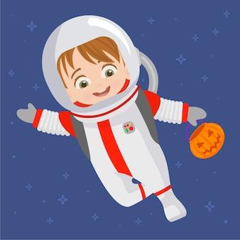 Kind im astronauten outfit