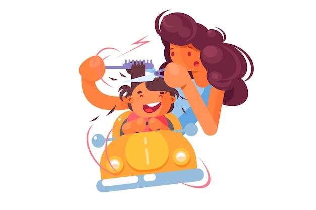 Kind in der friseursalonillustration. kinderfriseur mit fröhlichem kleinen jungen im spielzeugorangenauto Premium Vektoren