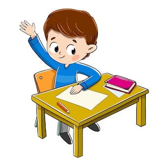 Kind in der klasse, die seine hand anhebt, um eine frage zu beantworten, die er kennt