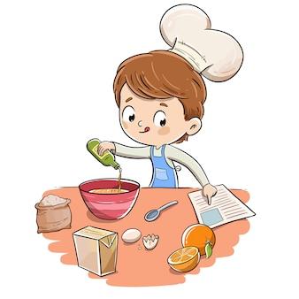 Kind in der küche, die ein rezept mit einer kochmütze macht