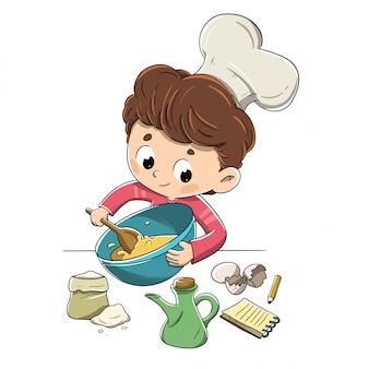 Kind in der küche, die ein rezept vorbereitet