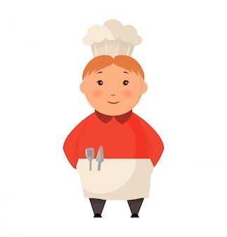 Kind in einer kochmütze steht flach. logo-design-vorlage für babynahrung. charakterkinderkoch-pressionsillustration