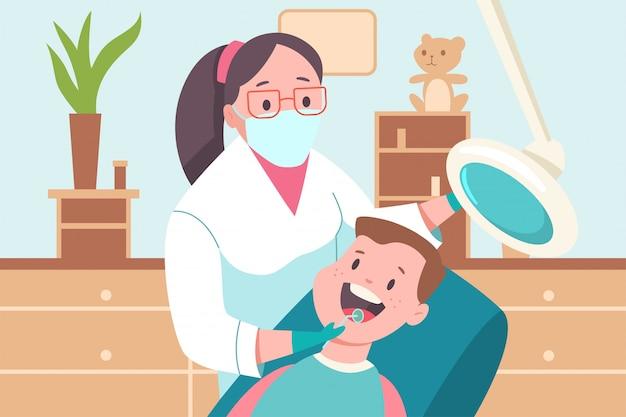 Kind in einer zahnarztpraxis. arzt, zahnarzt und patient. flache medizinische illustration der vektorkarikatur.