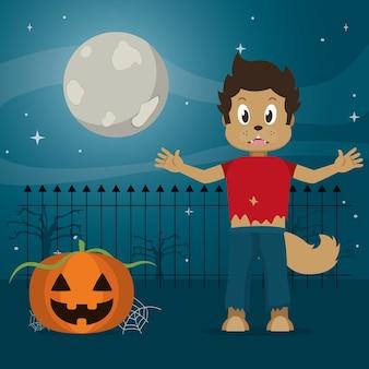 Kind in halloween-karikatur