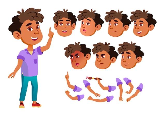 Kind junge charakter. araber. erstellungskonstruktor für animation. gesichtsemotionen, hände.