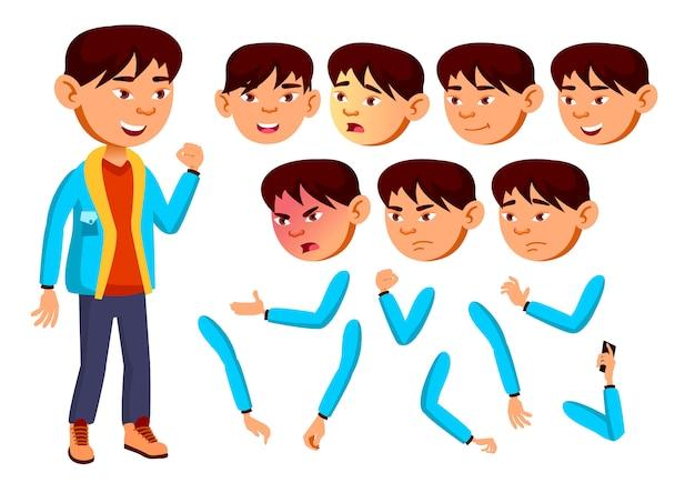 Kind junge charakter. asiatisch. erstellungskonstruktor für animation. gesichtsemotionen, hände.