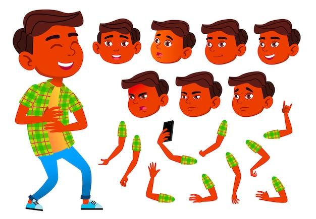 Kind junge charakter. indisch. erstellungskonstruktor für animation. gesichtsemotionen, hände.