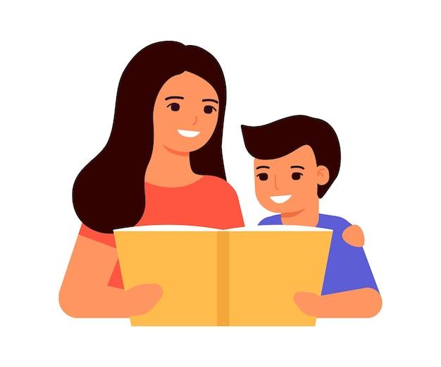 Kind junge und mutter lesen buch lektion lernen mama hilft kind home school online-bildung