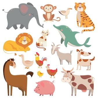 Kind karikaturen elefant, möwe, delphin, wildes tier. haustier-, bauernhof- und dschungeltiere vector karikaturillustrationssammlung