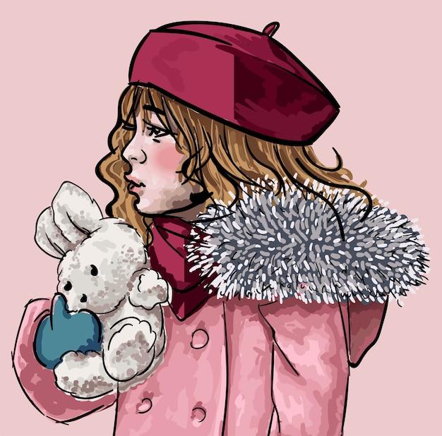 Kind kuschel plüschtier. isoliertes kind, das winterkleidungsmütze und wutmantel trägt