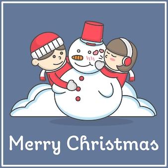 Kind lieben immer schneemann in der flachen karikatur im flachen karikaturdesign für dekoration und design e