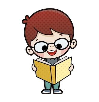 Kind liest ein stehendes buch