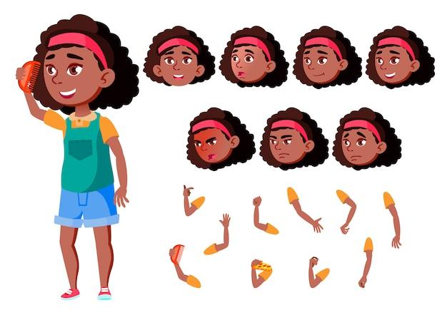 Kind mädchen charakter. afrikanisch. erstellungskonstruktor für animation. gesichtsemotionen, hände.