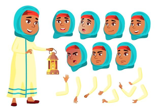 Kind mädchen charakter. araber. erstellungskonstruktor für animation. gesichtsemotionen, hände.