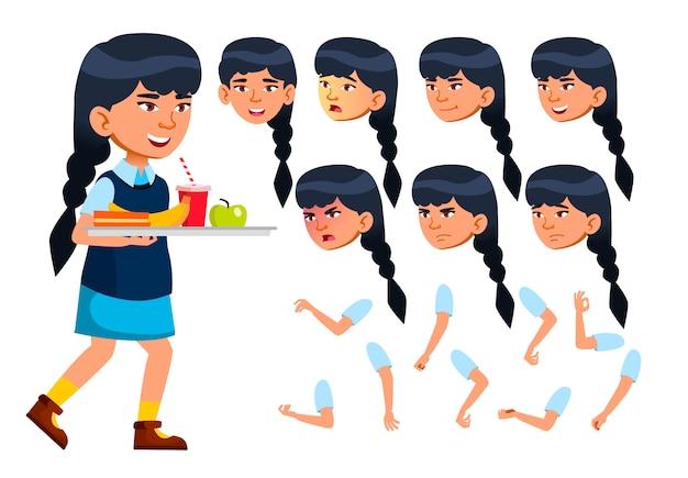 Kind mädchen charakter. asiatisch. erstellungskonstruktor für animation. gesichtsemotionen, hände.