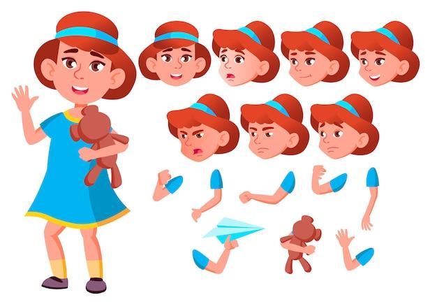 Kind mädchen charakter. europäisch. erstellungskonstruktor für animation. gesichtsemotionen, hände.