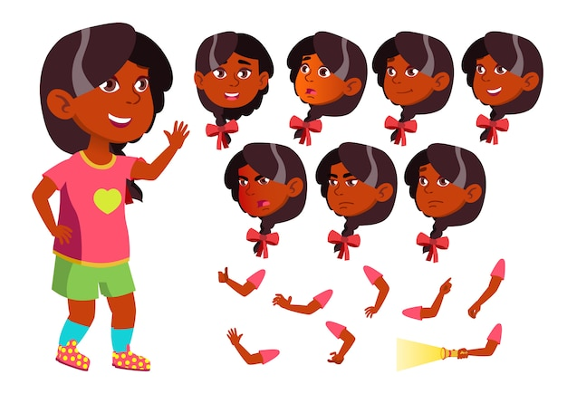 Kind mädchen charakter. indisch. erstellungskonstruktor für animation. gesichtsemotionen, hände. Premium Vektoren
