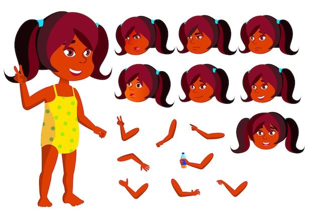 Kind mädchen charakter. indisch. erstellungskonstruktor für animation. gesichtsemotionen, hände.