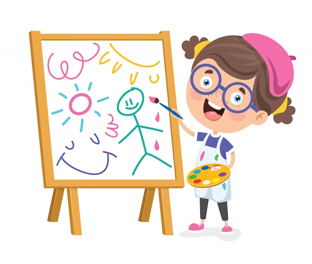 Kind malt einen rahmen