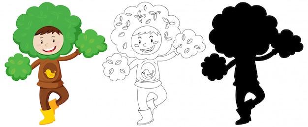 Kind mit baumkostüm in farbe und umriss und silhouette