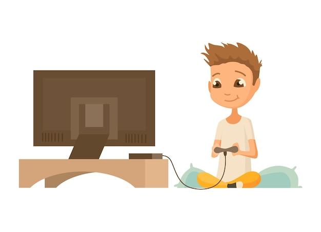 Kind mit gadget. kind und moderne technologie bunte zeichentrickfigur. junge, der spiel auf pc spielt.