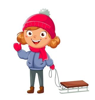 Kind mit schlitten. niedliche mädchen-cartoon-figur rodeln, wintersport. hallo winterkonzept. vektorgrafik auf weißem hintergrund