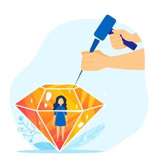 Kind person diamant, eltern kümmern sich um kind illustration. neugeborenes kind der familie. eine kinderwelt schaffen