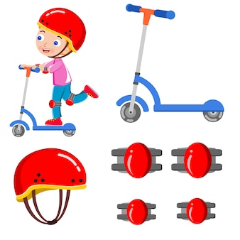 Kind skating roller helm glücklich vektor