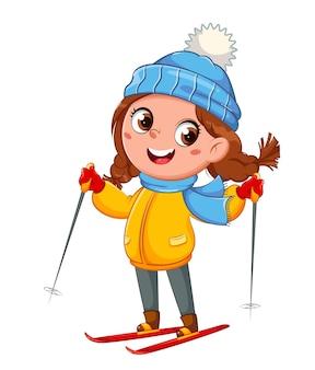 Kind skifahren niedliche skifahrerin cartoon-figur wintersport hallo winterkonzept