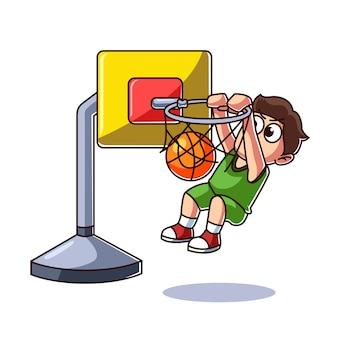 Kind spielt basketball