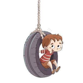 Kind spielt mit dem Rad