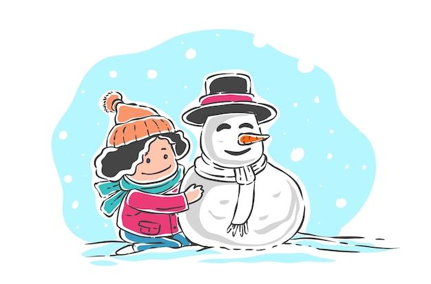 Kind spielt mit schneemann isoliert auf weiß