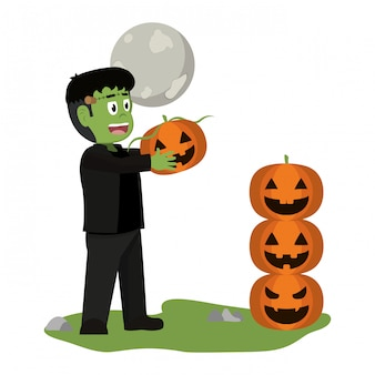 Kind und halloween-cartoon