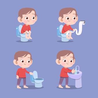 Kind unter verwendung der pooping vektorillustration der toilette lokalisiert