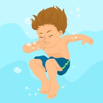 Kind unter wasser schwimmen