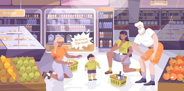 Kind verloren beim einkaufen mit flacher illustration der kinderelemente