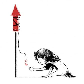 Kind zündet eine rakete an