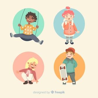 Kinder-aktivitäten-kindertags-charaktersammlung